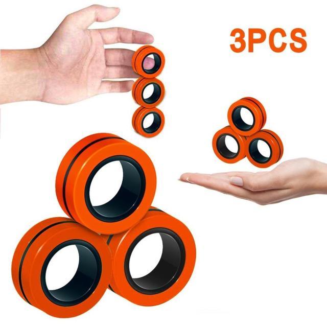 All Orange Magnetic Spinner Ring Fidget for Stress Relief